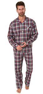 Edler Herren Pyjama langarm Schlafanzug gewebt zum Knöpfen im Karo Design - 65344, Farbe:rot, Größe:52