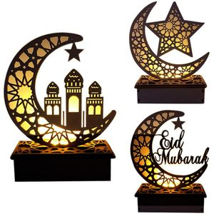 3 Stück Ramadan Laterne LED Holz Mond Sterne Lichtdekoration Ramadan Eid Mubarak Home Decor Craft Ramadan Dekoration