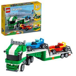 LEGO 31113 Creator 3-In-1 Rennwagentransporter Spielzeug LKW mit Anhänger, Kran und Boot, Rennwagen Autotransporter, Spielzeugauto für Kinder ab 7 Jahre