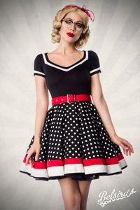 Vintage Retro Kleid mit Tellerrock und V-Ausschnitt in schwarz/weiß Größe XS = 34