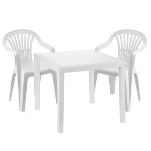 Sitzgarnitur Bistrogarnitur 3-teilig Kunststoff Weiß