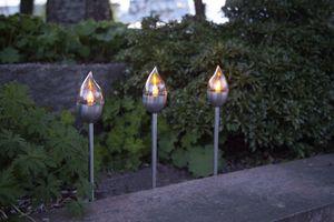Star Trading LED Solar Fackel Olympus in Silber 3-flammig IP44