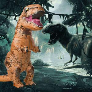 1x Kinder Aufblasbar Kostümparty Dinosaurier Kostüme T- REX Cosplay Kostüm Halloween Party Orange für Kinder