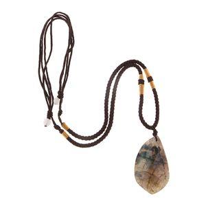 Heilstein Trommelstein Anhänger Halskette Schmuck Kette für Damen und Herren, auch für Steinsammlung, Ca. 22-35 mm