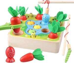 3-in-1 Angelspiel aus Holz - Fische Angeln Spiel Holzspielzeug - Montessori Motorik Spielzeug - Motorikspielzeug - Lernspielzeug - Lernspiele - Geschenk für Kinder Kleinkind ab 2 3 Jahre