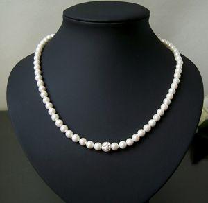 K1247# Halskette Muschelkern Perlen 6mm creamweiß Magnetschließe