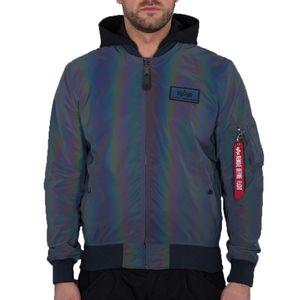 Alpha Industries MA-1 LW HD Rainbow Reflective Herren Jacke, Farbe:Grau, Größe:XL