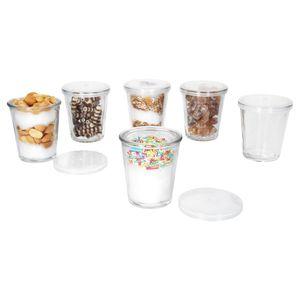 12 Dessertgläser + Frischehaltedeckel, Ø 5,7 cm, Becherglas, Dips, Desserts, Tapas, Meze, Cremes