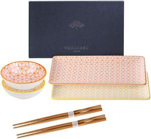 vancasso Natsuki Sushi Set, 6-teilig Porzellan Japanisches Geschirr-Set, Beinhaltet Sushi Teller, Soßenschälchen und Essstäbchen