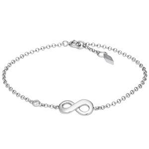 Fossil JFS00393 Damen Armband unendlich infinity Silber Weiß 18,5 cm