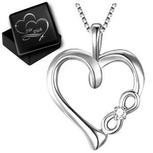 Hals-Kette mit Herz Herzkette echt 925er Silber  Unendlichkeit Symbol für Damen Frau P14+V12