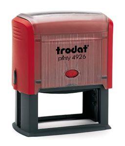 Trodat PRINTY 4926, max. 10zeilig, 75X38 mm, Gehäuse rot, individuelle Stempelplatte mit Ihrem Wunschtext, Stempelkissen schwarz