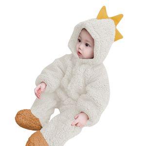 Tierbaby mit Kapuze Strampler einteilige Kleinkinder Herbst Winter  Pyjamas Unisex Overall Kostueme (Dinosaurier)90
