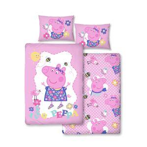 Peppa Wutz Mädchen-Bettwäsche 40x60 + 100x135 cm · Kinder-Bettwäsche / Baby-Bettwäsche - 100% Baumwolle