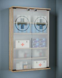 VCM Wand Medizinschrank Arzneischrank Erste Hilfe Medikamentenschrank XXL Janalu Sonoma-Eiche
