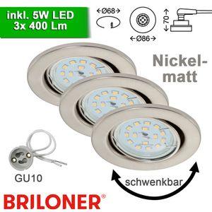 Einbauleuchten Briloner Fit LED 3er Set Nickelmatt Einbaulampen