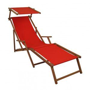 Sonnenliege rot Liegestuhl Fußteil Sonnendach Gartenliege Holz Deckchair Gartenmöbel 10-308FS