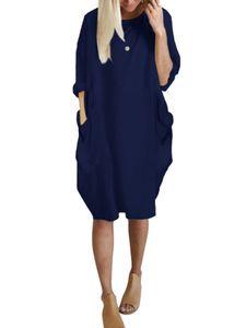 Damen Langarm Shirtkleid Freizeit Tunika Longshirt Longtop Minikleid mit Taschen Blau XXL