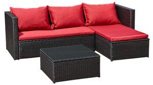 Gartenmöbel Gartenset Gartenlounge Sofa Bergen III  rot - schwarz neu Lounge Ecklounge Polyrattan Neu