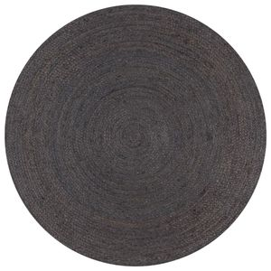 vidaXL Teppich Handgefertigt Jute Rund 150 cm Dunkelgrau