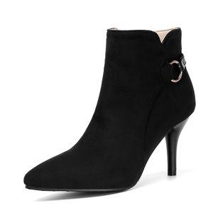 IELGY Weibliche kurze Stiefel 8 cm hohe Absätze Große Größe Einfarbiger Stiletto-Absatz mit mittlerem Absatz, Reißverschluss, kurzes Rohr