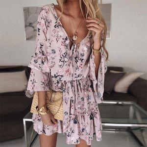 Damen V-Ausschnitt Chiffon Kleid, Kurzer Rock Mid-Waist, Pink (L)