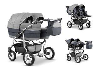 Zwillingskinderwagen Duet Lux 3 in 1 (D-11) - Kinderwagen, Sportsitze und Autositze