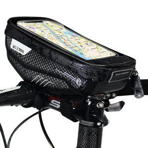 Fahrradtaschen mit Touchscreen Handyhalter Fall wasserdicht Fahrrad Frontrahmen Oberrohrmontage Lenkertaschen Fahrrad Aufbewahrungstasche Radfahren Pack,Schwarz