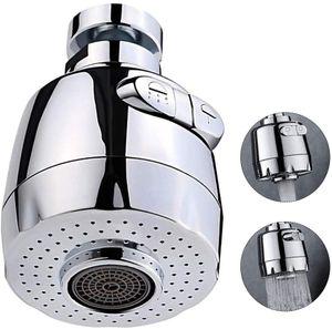360° Drehbarer Wasserhahn Sprühkopf,  Küchenbrause Beweglicher Wasserhahn Sieb Wassersparblase Spritzwassergeschützt, Silber