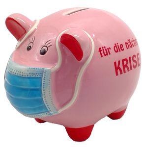 Sparschwein mit Maske für die nächste Krise 11,5 x 16,5 cm