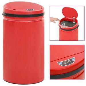 Automatischer Sensor-Mülleimer 50 L Kohlenstoffstahl Rot