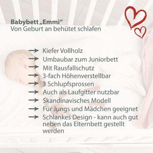 """Mitwachsendes Babybett """"Basic"""" 120x60 cm zum Kinderbett umbaubar, Kiefer, mit Schlupfsprossen, mit Schublade, in weiß"""