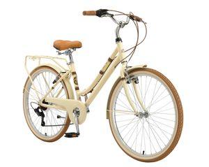 BIKESTAR City Stadt Fahrrad 26 Zoll   16 Zoll Rahmen, 7 Gang Shimano Damen Holland Rad Retro Bike, V-Bremse, Gepäckträger   Beige