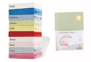 Frottee-Spannbetttücher für Kinderbetten im Doppelpack, lemon