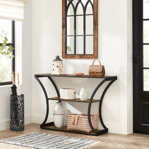 VASAGLE Konsolentisch, Flurtisch, 120 x 30 x 80 cm (L x B x H), geschwungene Beine, verlängerte Tischplatte, vintagebraun-schwarz LNT089B01