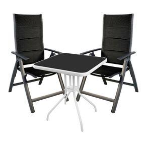 3-teilige Bistro Sitzgarnitur Schwarz/Weiss/Anthrazit mit Comfort Klappstühlen