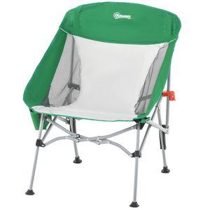 Outsunny Campingstuhl kompakt mit Tragetasche Kleiner ultraleichter klappbarer für Outdoor Zelten Picknick Wandern max Belastung 150 kg Grün+Silber 65 x 80 x 96 cm