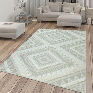 In- & Outdoor-Teppich, Flachgewebe Mit Hochflor-Absetzung, Ethno-Muster In Beige, Größe:80x150 cm