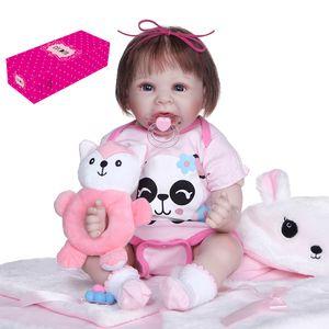 Decdeal Reborn Dolls 22 Zoll lebensechte gewichtete Baby Soft Body Realistische Vinyl Silikonpuppe mit Panda Outfit Fox Toy