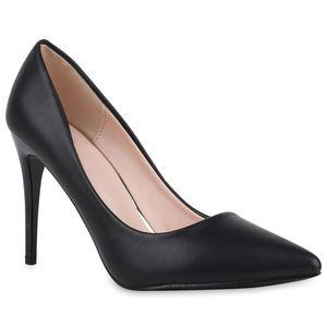 Mytrendshoe Damen Spitze Pumps Stiletto Klassische Absatzschuhe High Heels 832056, Farbe: Schwarz, Größe: 37