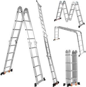 COSTWAY Multifunktionsleiter Alu, Klappleiter Mehrzweckleiter belastbar bis 150 kg, 4,7 m Gesamtlaenge