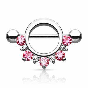 Brustwarzenpiercing Schild Nippelpiercing mit Zirkonia Kristallen, Farbe:Pink