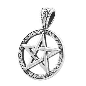 Anhänger Pentagramm Stern Edelstahl Halskette Lederkette Kugelkette Gothic Damen Herren silber-nur-anhänger