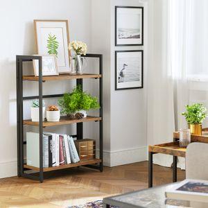 VASAGLE Bücherregal mit 3 Ablagen Vintage 93 x 60 x 30 cm Metallrahmen Standregal im Industrie-Design Klappregal multifunktionales Regal LLS66X