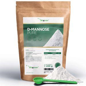 Vit4ever® D-Mannose Pulver - 200 g - 100 Tagesportionen mit 2 g (3,3 Monate Vorrat) - Rein & ohne Zusätze - Hochdosiert & Natürlich - Naturbelassen - Vegan - Mannose