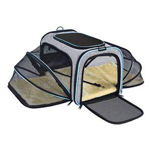 Hundetransportbox faltbar Katzentransportbox Transportbox Autobox Box grau, Größe:46*75.7*28cm