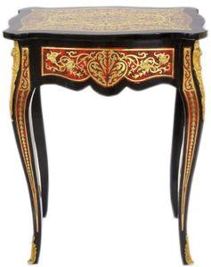 Casa Padrino Barock Beistelltisch mit Schublade und wunderschönen Verzierungen Schwarz / Rot / Gold - Barock Möbel