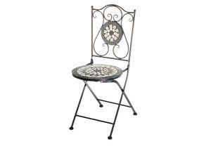 Gartenstuhl Klappstuhl Mosaikstuhl Metallstuhl - Höhe 88 cm - grau