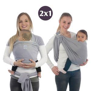 BabyBino Babytragetuch & Ring Sling 2 in1, Elastisches Baby Tragetuch mit Aluminium-Ringe für Neugeborene. Babytrage & Tragehilfe