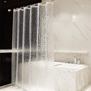 180x200cm Duschvorhang Anti Schimmel Badewannenvorhang  Wasserdicht  Eva Wasserwürfel Duschvorhänge mit 12 Ringe